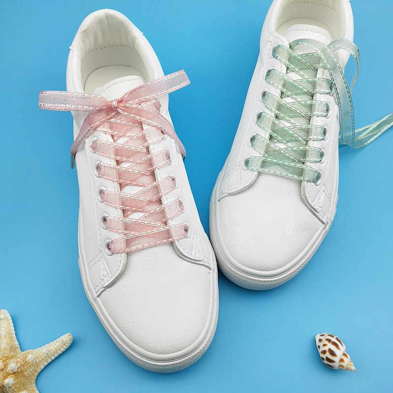 Yaratıcı Atlama Işığı Renk Kore Şifon Şeffaf Ayakkabı Bağı Kadın Dantel Kar Iplik Şerit Beyaz rahat ayakkabılar Ipek Dantel Dropship