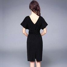 summer women formal dress new sexy cross deep V neck short loose sleeve backless split fashion wear to work knee length dress
