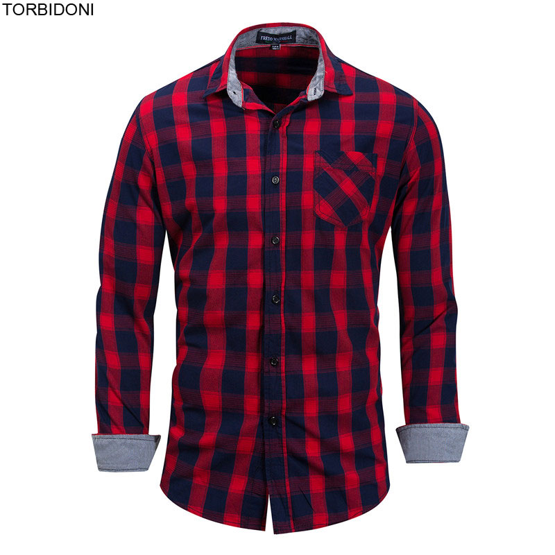 Casual Cotton Shirts for Men Designs Autumn Fashion Camisa Masculina Plaid Blouse Shirts Slim Long Sleeve Casual Shirt EUR XXXL