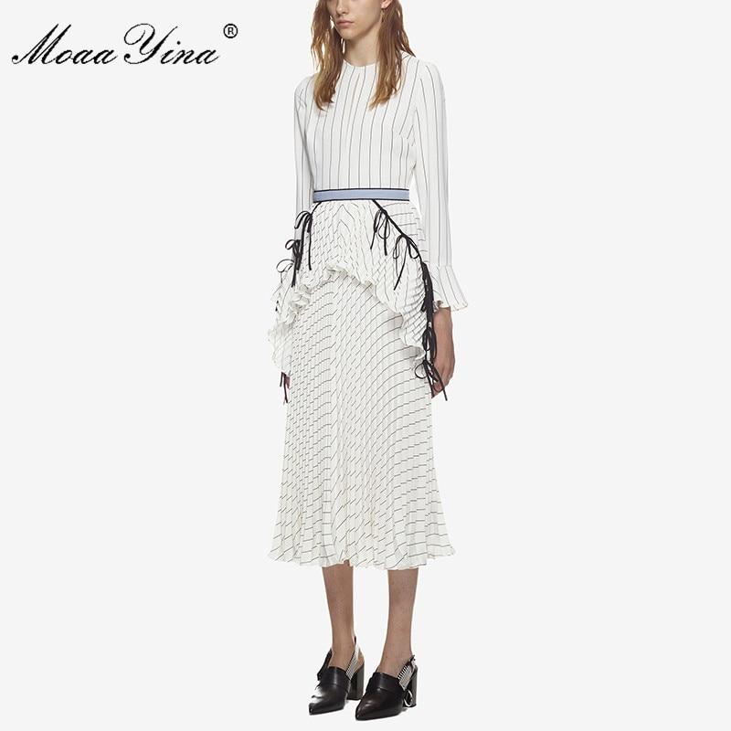 MoaaYina 2018 Styliste Piste Automne Rayé Robe Mi longue à manches Longues  Mince Volants Blanc Élégant Carrière Robe De Bureau dans Robes de Mode  Femme et