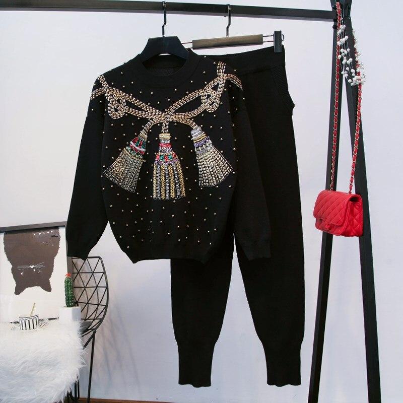 Perles D'hiver Tricoter 2 Noir Femmes Survêtement Ensemble À Tricoté Pantalon Chandail Pièces Sarouel qRfT0B