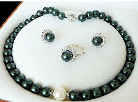 Free Shipping $wholesale_jewelry_wig$ 10mm Dark Green South Sea Shell Pearl Luxury Necklace Ring And Earring Set