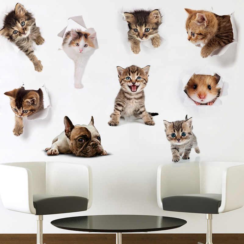 Loch Ansicht Katze Hund Tier 3D Wand Aufkleber Bad Wc Kinder Zimmer Dekoration Wand Aufkleber Aufkleber Kühlschrank Wasserdichte Poster