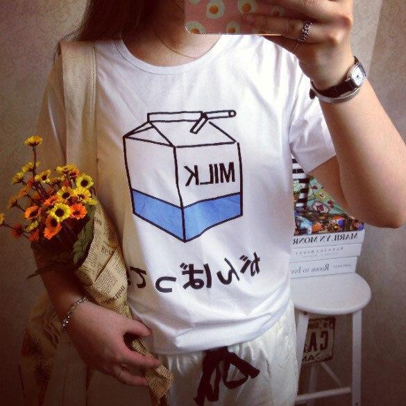 Wholesale 2015 fashion New women fashion Sexy Casual preppy style short-sleeve t shirt tee O-neck tee Japanese milk