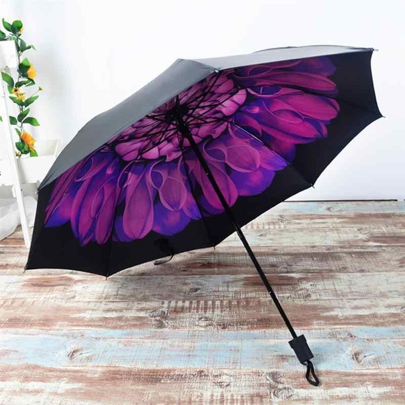 Nouveau Anti-UV soleil Protection contre la pluie coupe-vent Parasols Violet 3 parapluie pliant