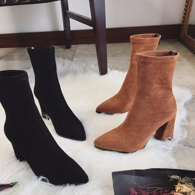 18 15 2018 Faux Suede Mujeres Calcetin Botas Gruesos Tacones Altos Tobillo Botas Para Mujer Moda Slim Stretch Zapatos Mujer En Botines De