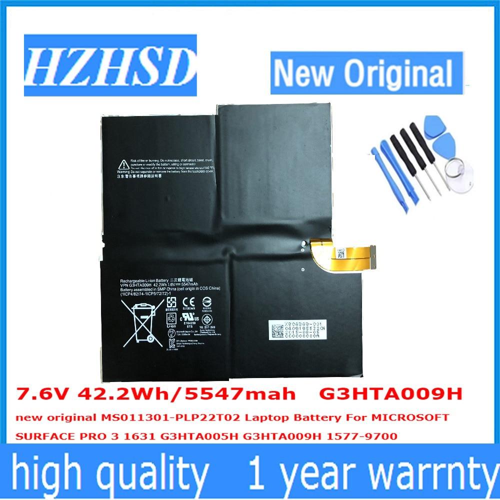 7,6 В 42.2Wh/5547 мАч G3HTA009H новый оригинальный MS011301-PLP22T02 ноутбука Батарея для MICROSOFT SURFACE PRO 3 1631 G3HTA005H G3HT