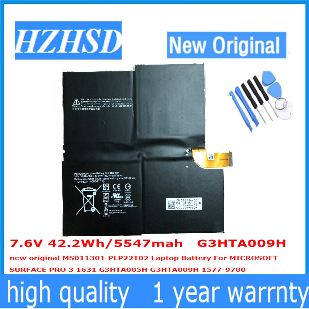7.6 v 42.2Wh/5547 mah G3HTA009H new original MS011301-PLP22T02 Batterie D'ordinateur Portable Pour MICROSOFT SURFACE PRO 3 1631 G3HTA005H G3HT