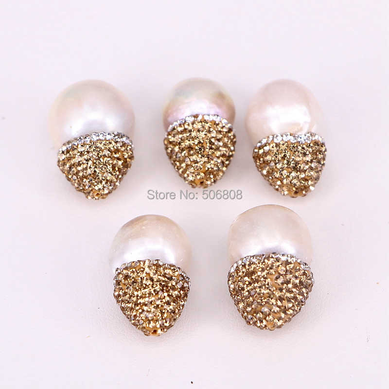 610pcs Natural pearl Beads Pave Rhinestone Drop Connector Spacer Beads For DIY Making Earring Bracelet necklace