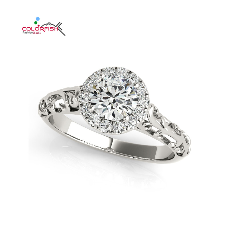 COLORFISH Antique Halo Engagement Ring For Women Sona Simulated Wedding Jewelry Real 925 Sterling Silver Female Finger Ring