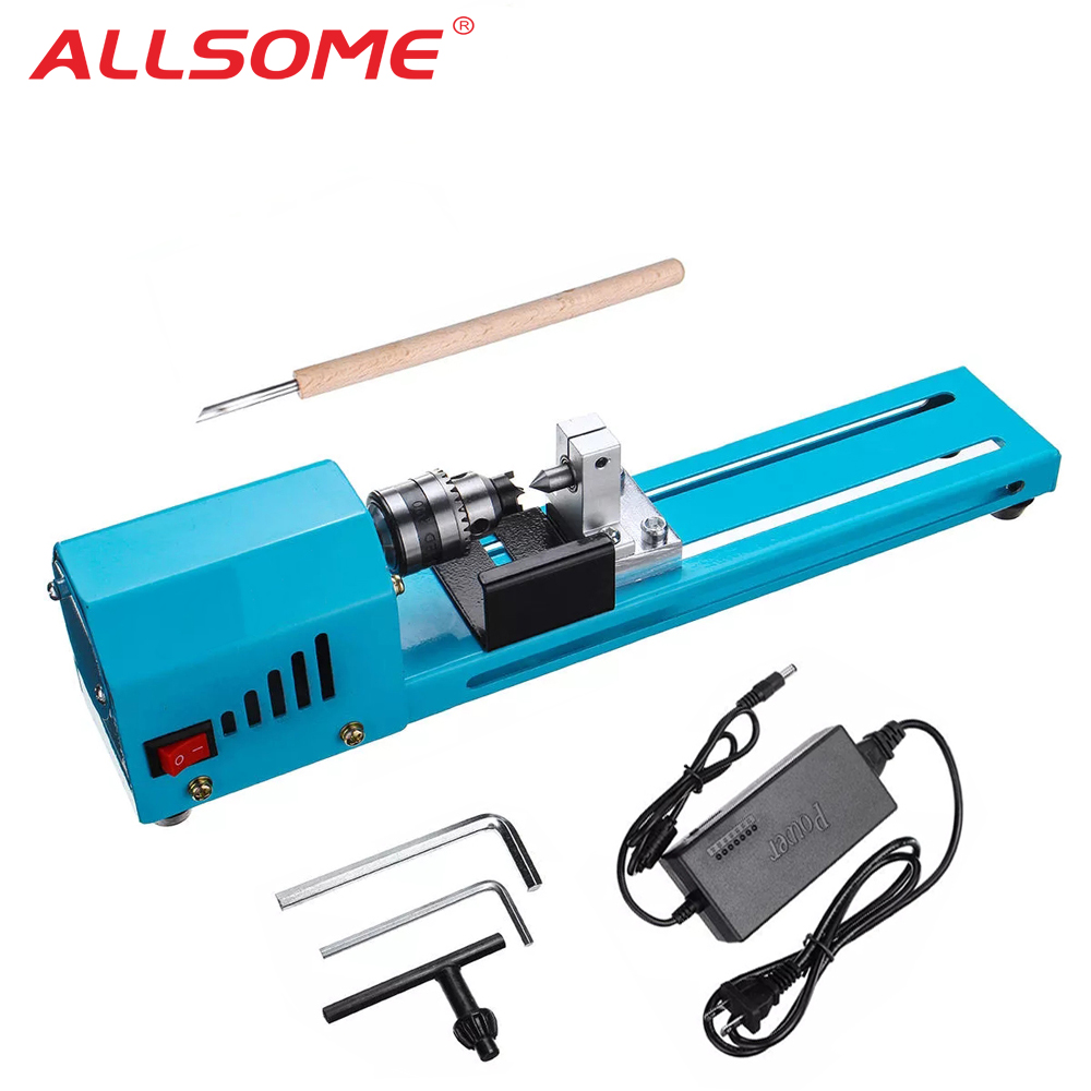 DIY Mini Lathe Machine Tools Woodworking Wood lathe 150W Milling Machines Grinding Polishing Beads Drill Rotary Tool Set Kit