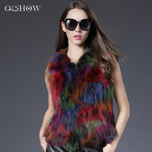 2016 New Real Raccoon Dog Fur Vest Colorful Fashion Women Raccoon Dog Fur Jacket Nature Winter Warm Raccoon Dog Fur Outwear