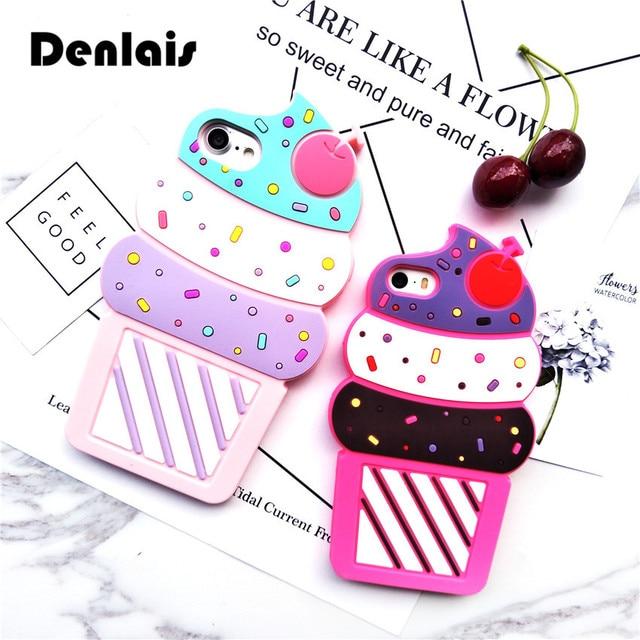 Hot Cute 3D Cherry  Ice Cream Cartoon Capa Coque Soft Silicone Phone Cases Cover For iPhone 7 7Plus 4G 4S 5 5G 5S SE 6 6S 6Plus