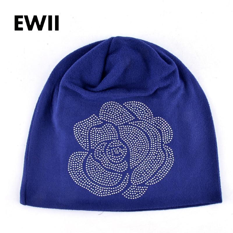 Spring and Autumn ladies beanie knitted hat women flower rhinestones hats for women's skullies caps girl cap gorros balaclava