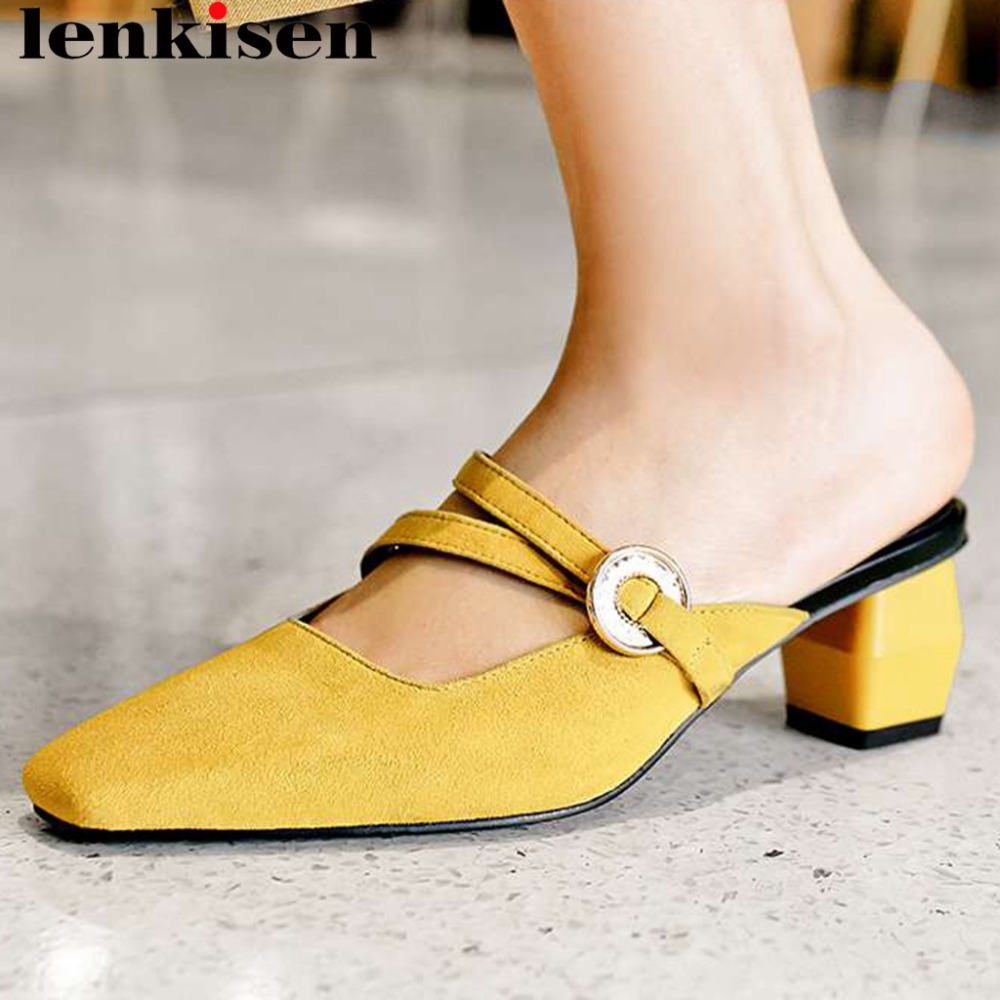 Lenkisen kid suede thick high heels classic square toe slip on mules big size women pumps handmade high fashion women pumps L12Lenkisen kid suede thick high heels classic square toe slip on mules big size women pumps handmade high fashion women pumps L12