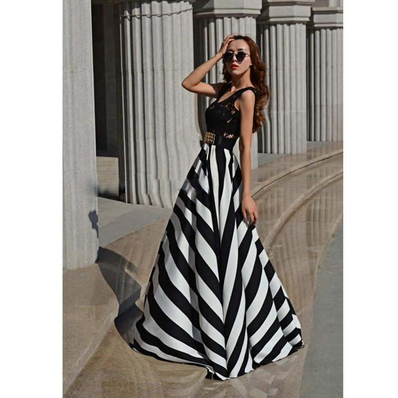 White lace dress with black stripes on bottom