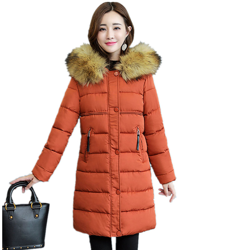 Winter Jacket Women Hooded   Parka   Coats Female Long Sleeve Jacket Warm Slim Plus Size 3XL Winter Coat Women   Parkas   Outerwear Q885