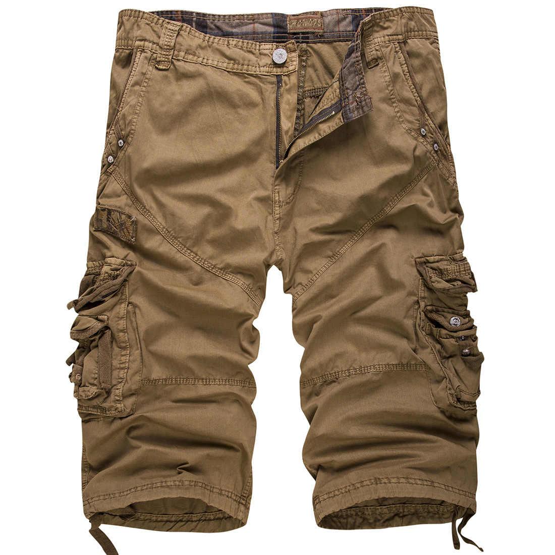 Новые хлопковые мужские повседневные шорты Свободные Большие размеры карго шорты сплошной цвет пэчворк военные шорты белые по колено тактические