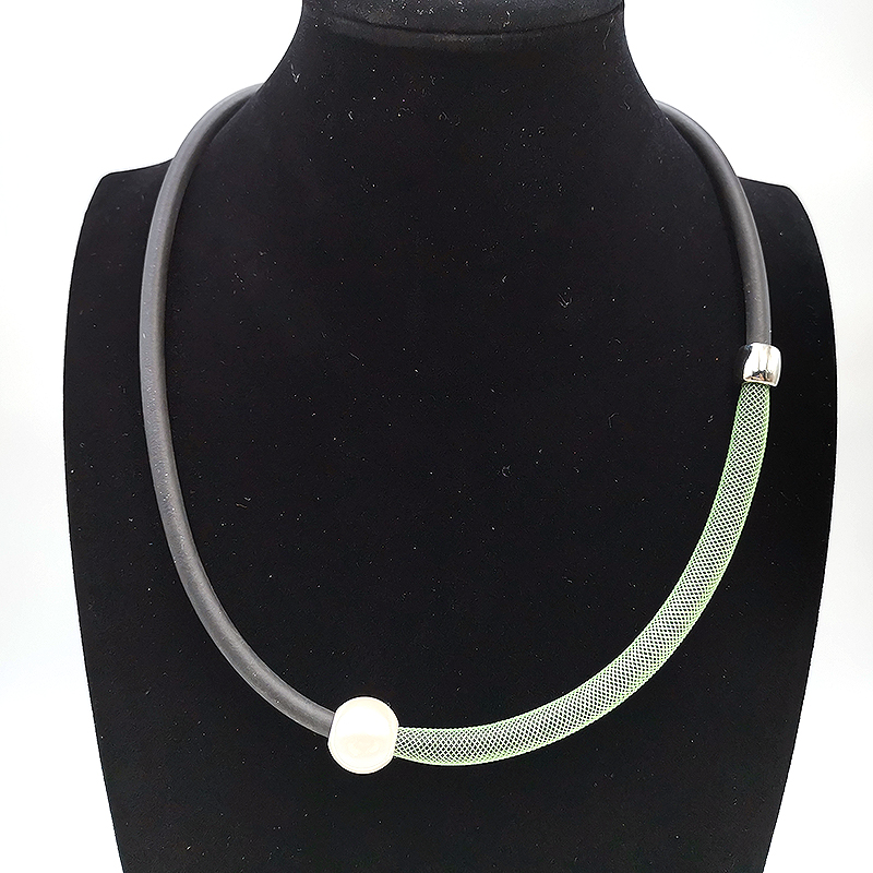 YD YDBZ 2019 Simple Necklace Clothes Accessory Jewelry Women Fake Pearl Rubber Necklaces Green Lace Pipe Collar Handmade Choker in Torques from Jewelry Accessories