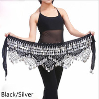 New Style Coins Belly Dance Waist Chain Hip Scarf Bellydance Belt 11 Colors For Your Choice