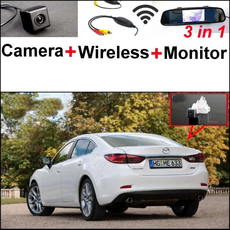 3 in1 Special Camera + Wireless Receiver + Mirror Monitor Easy DIY Parking System For Mazda 6 Mazda6 2013~2015