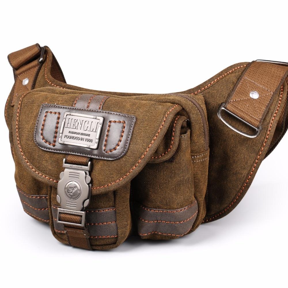 2018 Ruil Retro Canvas waist bag men's fashion multi-functional pockets Leisure Picnic Phone bag Toolkit Vintage Package outdoor diagonal leisure sports canvas waist bag