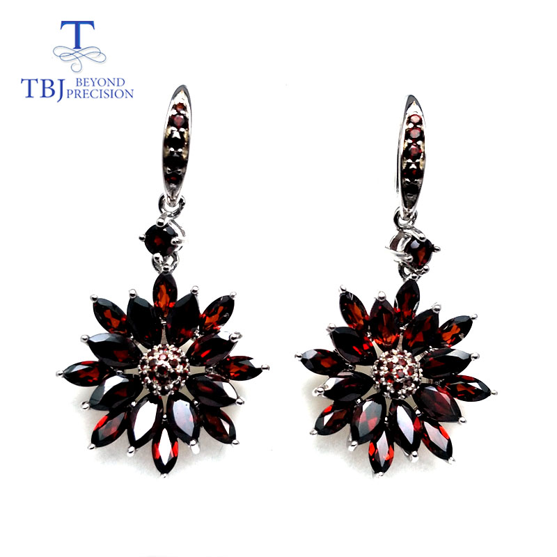 TBJ natural mozambique red garnet real gemstone hook earring 925 sterling silver fine jewelry for women