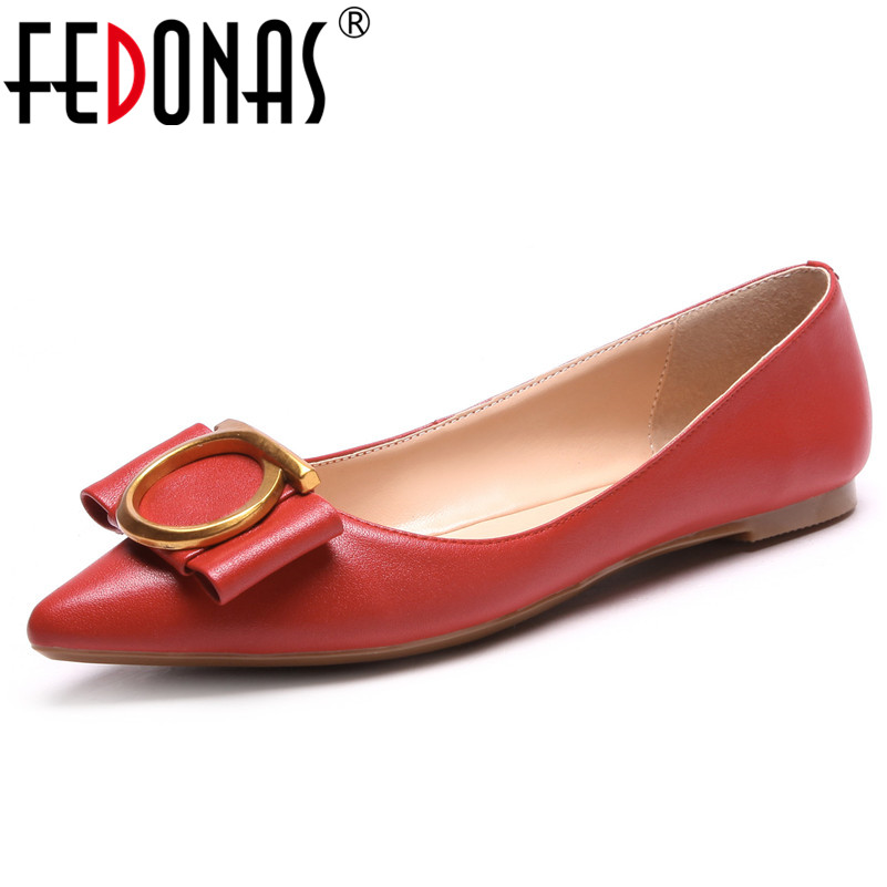 FEDONAS 2019 Leather Shoes Woman Shallow Pointed Toe Spring Autumn Ballet Flats Shoes Woman Wedding Party Shoes Ladies Flats women ballerina flats shallow slip on ballet shoes pointed toe flats woman metal heart shape rubber leather black ladies shoes