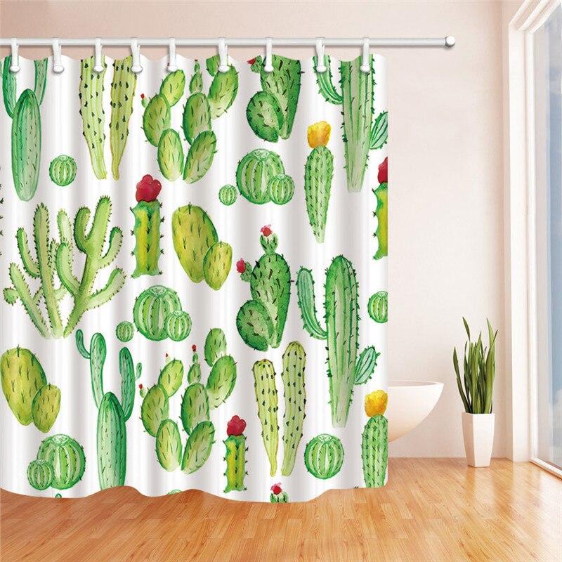 XYZLS Groene Plant Cactus Bloem Douchegordijn Waterdicht Mildewproof ...