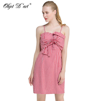 New Summer Dress Sleeveless Spaghetti Strap Sexy Dress Vintage Plaid Women Dresses Casual Vestidos Short Strapless