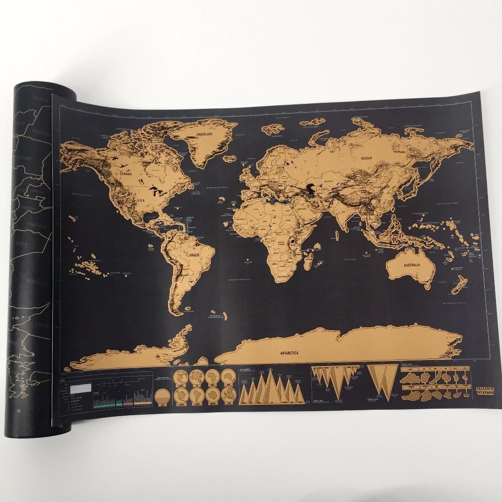 1 stücke Neue ankunft Deluxe Scratch Map Personalisierte Welt Scratch Karte Mini Scratch Off Folienschicht Beschichtung Poster