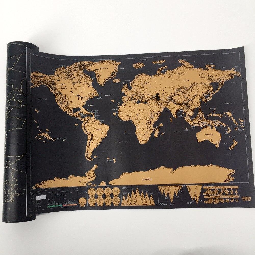 Envío Directo 1 unids nueva llegada Deluxe Scratch Map personalizado World Scratch Map Mini Scratch Off Foil Layer Coating Poster