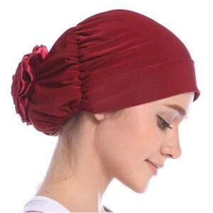 Image 5 - Haimeikang Cotton Women Muslim Stretch Turban Headband Women Flower Hair Bands Chemo Cap Head Wrap Hat Hair Accessories