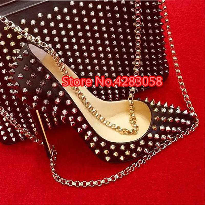 Free Shipping Fashion Women Pumps Lady Black Matt Leather Spikes Point Toe High Heels Shoes Thin Heeled 12cm 10cm 8cm Stiletto