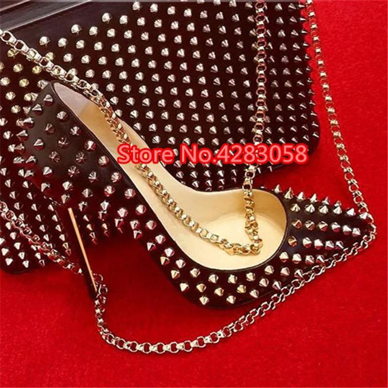 Free Shipping Fashion Women Pumps Lady Black Matt Leather Spikes Point Toe High Heels Shoes Thin Heeled 12cm 10cm 8cm Stiletto