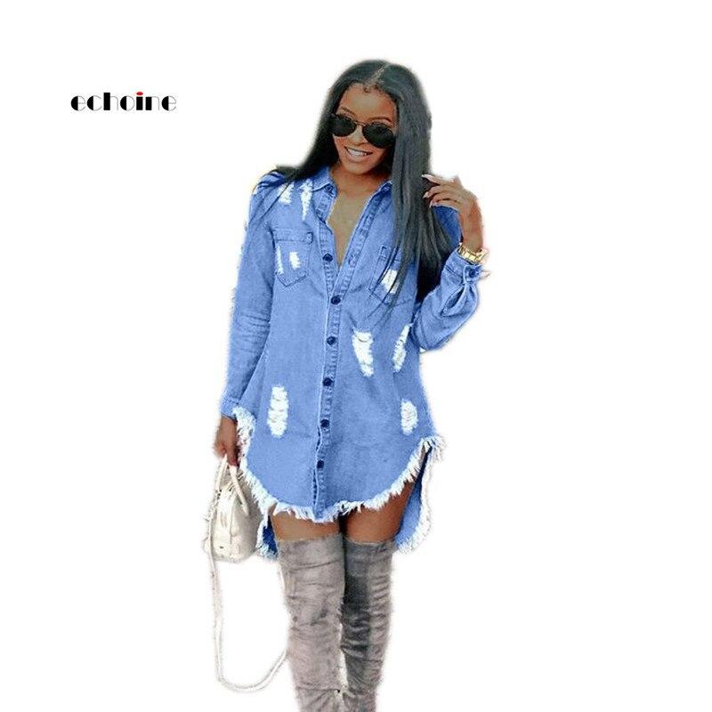 Echoine Denim Dress Women Hole Tassels Midi Blue Loose Long Sleeve Turn-Down Collor Single Breasted Autumn Womens Trendy