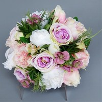 The Korean bride holds a bouquet of pink and purple flowers to simulate the wedding flowers Free Shipping