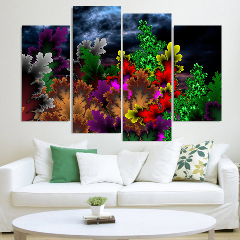 Canvas painting 4 piece canvas art colorful patterns for 4 home decor