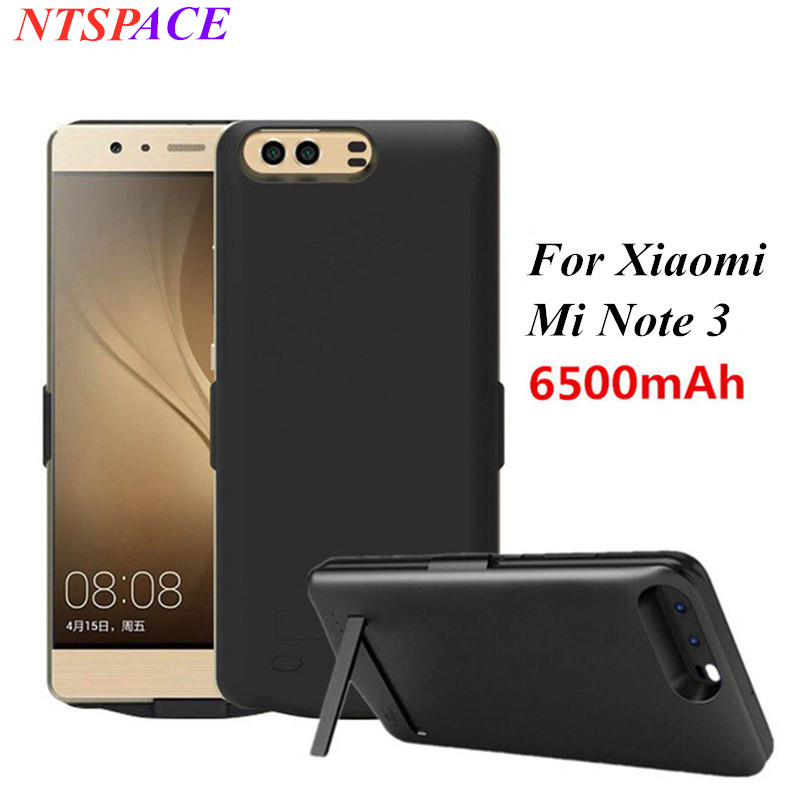 6500mAh Portable Power Bank Charging <font><b>Case</b></font> For <font><b>Xiaomi</b></font> <font><b>Mi</b></font> <font><b>Note</b></font> <font><b>3</b></font> External <font><b>Battery</b></font> Charger <font><b>Cases</b></font> Power bank Stand Back Cover image