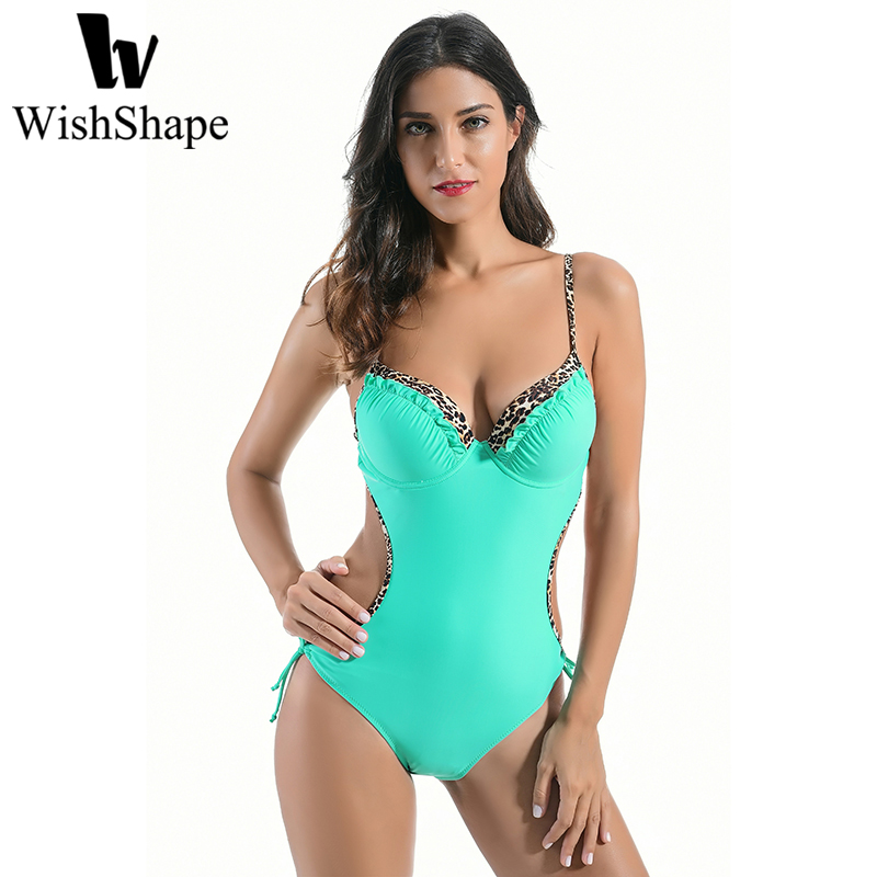 Sexy Backless Swimwear One Piece Swimsuit Women Hollow Out Black Bandage Bodysuit 2018 Leopard Print Swim Bathing Suit Monokini high neck one piece swimsuit women high cut thong swimwear sexy bandage trikini hollow out mesh bodysuit female zipper monokini