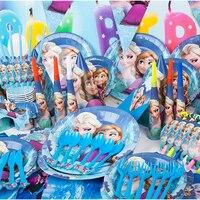 Paper Plate Cup Napkin Banner Cartoon 84pcs Set 1st Girls Celebration Birthday Frozen Theme Party Decoration