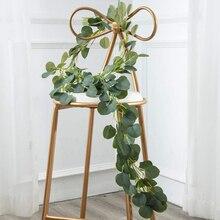 Nowy 1.7m/2m/2.2m długie wiklinowe liście dekoracji długa sztuczna Rattan Silk wiszące Eucalyptus sztuczne ślubne Party Vine