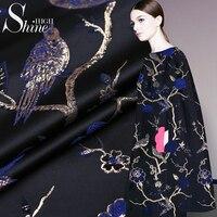 Catwalk fashion brocade fabric jacquard gold line wide cloth clothing fabrics jacquard fabrics