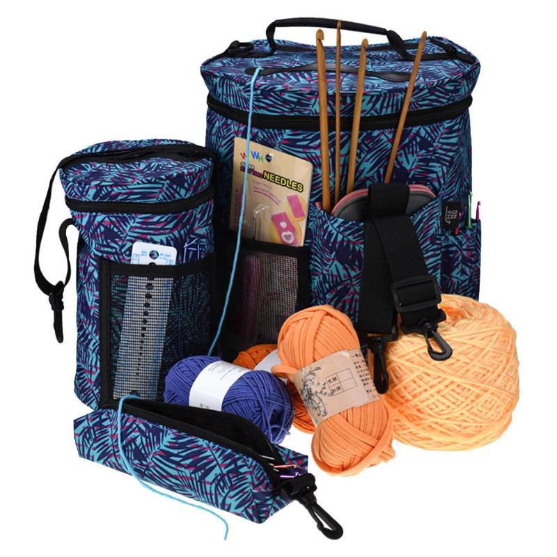 3 Pcs/set Embroidery Crochet Hook Yarn Storage Bucket New Oxford cloth Knitted Sewing Kit Bag Big Capacity Hooks Thread Bag