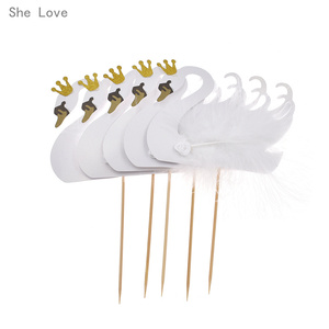 Image 2 - Chzimade 5pcs Cupcake Topper Picks Swan Crown Feather Wedding Party Cake Decoration Supplies