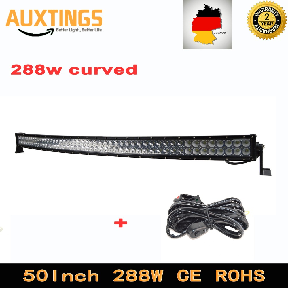 hight resolution of 50inch 288w curved offroad led driving work light 288w bent combo led light bar for 4x4 4wd truck atv suv wiring harness kit