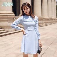 JIBAIYI Solid Long Sleeve Women Vintage Dress Elegant Ruffle Slim Party Spring Blue Dresses Summer Button Mini Female Vestido