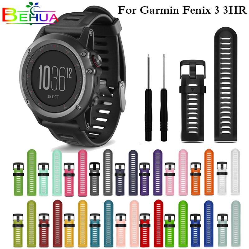 Colorful Silicone Wrist Strap Watchband 26mm Width Outdoor Sport Replacement Watchband For Garmin Fenix 3 3 HR Fenix 5X Strap