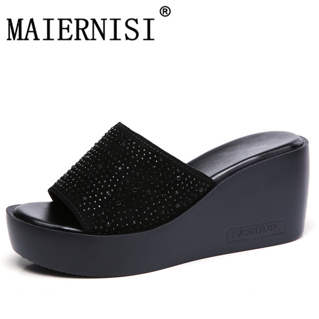 7f4d8f34689b € 19.59 40% de DESCUENTO 2018 verano mujeres zapatillas gamuza plataforma  Chanclas Zapatos Mujer cuñas zapatillas negro blanco diapositivas ...