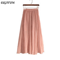 2018 Fashion Cotton Linen Skirts Vintage Beach Summer Skirts High Quality Women Solid Color Long Skirts